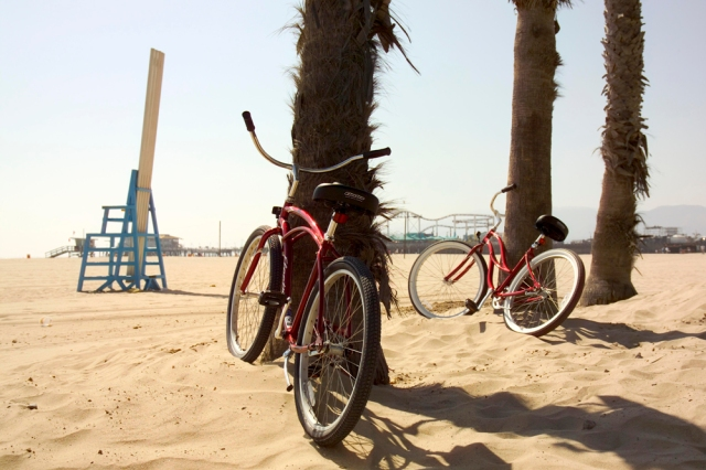 Santa Monica beach, courtesy of The Ambrose's free bicycles.