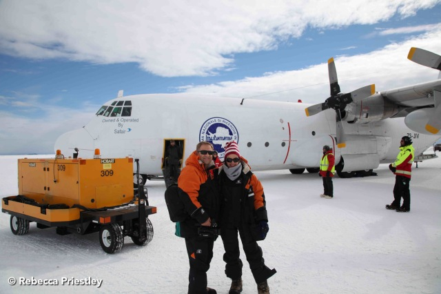 The compulsory we-just-arrived-in-Antarctica-and-can't-stop-smiling photo. Check out our fancy ride.