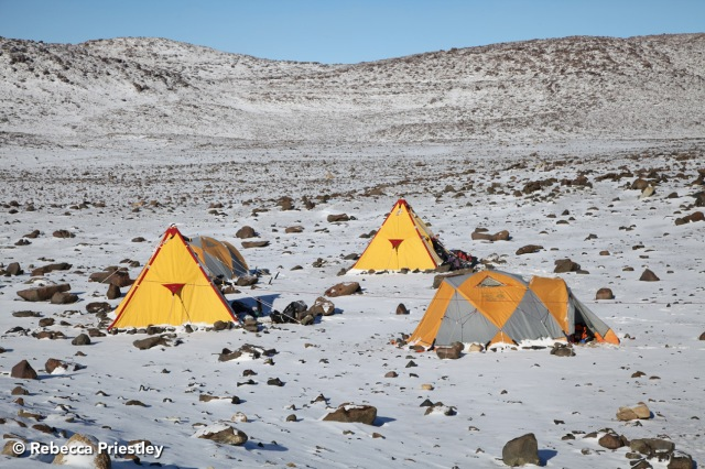 Campsite after snowfall (not a common event in the Dry Valleys region).