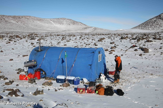 The Polar Haven, where we cooked and ate. That's Nick Golledge cleaning his teeth outside.