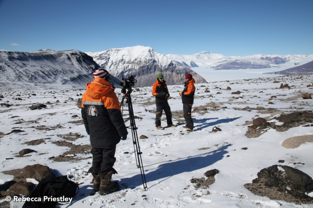 I film Cliff talking to Nick Golledge about glaciers. Thanks to Adam Lewis for taking the photo!